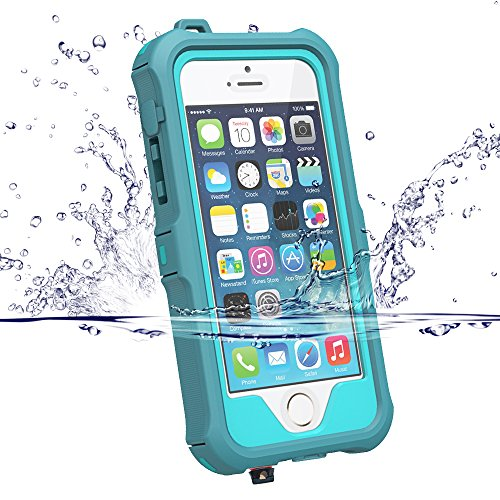 iphone se ケース iphone5 ケース ZVE® iphone5s 防水ケース アイフォン5sケース 多機能スマホケース 防塵 防雪 耐衝撃カバー 指紋認識可 液晶保護フィルム付き 新型(iphone5S/SE/5 ブルー)