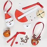 Kits décorations pour sapin de Noël Clochettes Père Noël et renne que les enfants pourront fabriquer et suspendre (Lot de 6)...