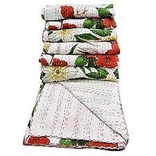 Blanco Edredón Kantha Stitch Cotton Gudri Floral Print Home Decor Colcha India Regalo 102