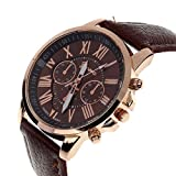 ZooooM クロノグラフ ラウンド デザイン アナログ 腕 時計 フェイク レザー ベルト ファッション アクセサリー フォーマル カジュアル ビジネス メンズ レディース 男性 女性 男 女 兼 用 オリジナル クロス 付 ( ブラウン ) ZM-CLWC-BR