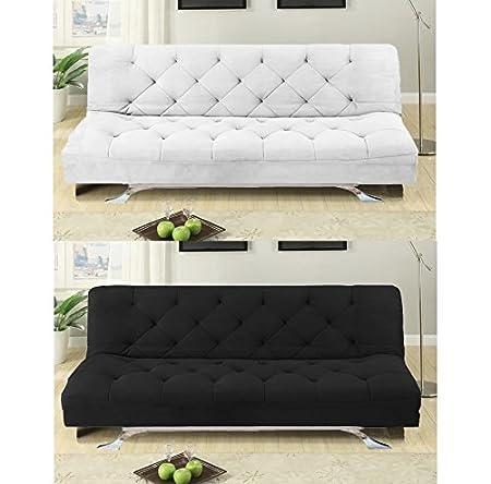 Divano sofa letto 195x87 bianco in microfibra reclinabile salotto soggiorno|12