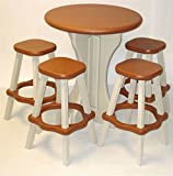 5 Pc Redwood and White Outdoor Bistro Set in Plastic