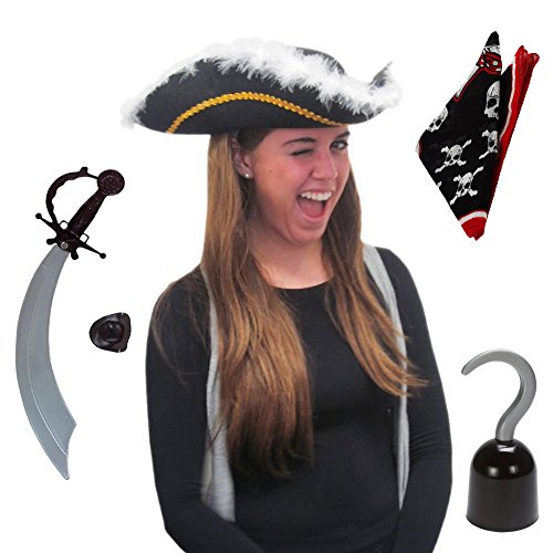 Adult Size Pirate Costume Set (Set of 5)