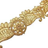 Metallic Gold Paisley Cut Work Embroidered Border Lace Traditional Sewing Crafted Trim 1 Yrd