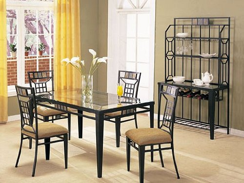 5 pc metal and glass dining table set with stone inlay on table and chairs