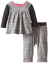 Splendid Littles Baby Girls' Fashion Stripe Dress,Grey,6-12 Months