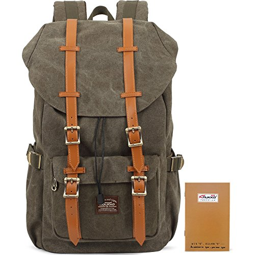 Kaukko High Density 16OZ Canvas Backpack Unisex Bags with Large Capacity Green