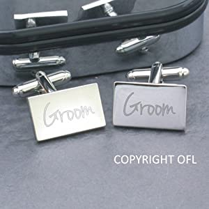 Groom Cufflinks - Oblong cufflinks engraved with the word Groom supplied in a presentation case (Best Man, Usher etc also available)