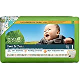 Seventh Generation Free And Clear, Unbleached Baby Diapers, Size 1, 160 Count, Packaging May Vary
