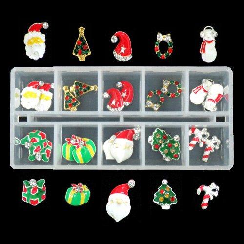 クリスマスネイルパーツ デコ ネイル用 10種類×各2個ケース入