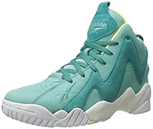 Reebok Men's Kamikaze II Mid Basketball Shoe, Jadeite/Utopic Teal/White/Electric Yellow, 10 M US