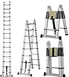 Masko® Teleskopleiter Multifunktionsleiter Aluleiter Klappleiter Anlegeleiter, Länge:3.20m Multi