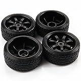 Youzone Negro RC Car Drift neumáticos de los neumáticos y las ruedas para HSP HPI 1/10 escala de deriva del coche 4pcs 7 radios