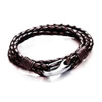 Tribal Steel Unisex 19cm Brown Leather 4-strand Bracelet With Stainless Steel Shrimp Clasp from Tribal Steel