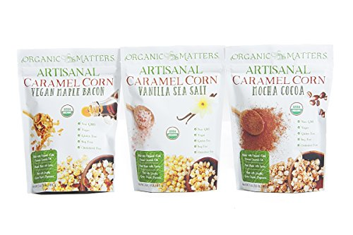 Organic Matters Vegan Caramel Corn - A healthier dairy free caramel corn made with Cold Pressed Coconut Oil - USDA Organic   Non-GMO   Soy Free (Variety Pack) (Vegi Salt compare prices)