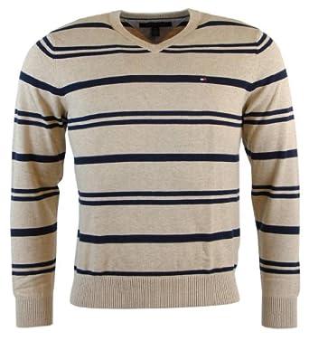 Tommy Hilfiger Mens Striped V-Neck Pullover Sweater - S - Beige/Navy