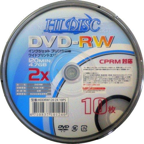 CPRM対応録画用DVD-RW HD DRW120 2X10PS 10枚スピンドル