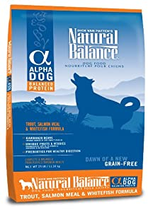 Natural Balance Alpha Grain-Free Trout, Salmon Meal, and Whitefish Formula for Dogs, 25-Pound Bag