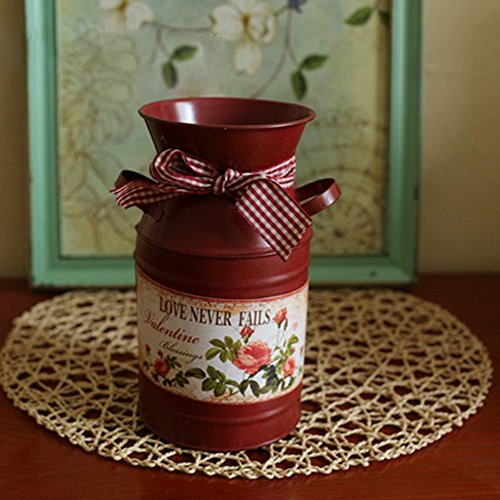 VANCORE(TM) French Style Rustic Shabby Chic Mini Metal Vase Holder Can Container with Tied Bands and Flower Decoration 0