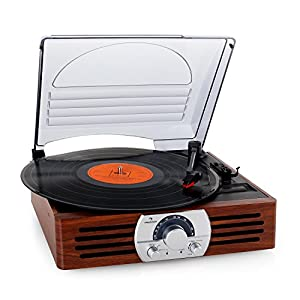 Auna TT-83N Record Player Turntable Stereo System FM Radio Tuner (Smooth-Running Belt Drive, Stereo Broadband Speaker, Cubist Form in Dark Wood Veneer) Wood