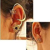 Gold Silver Plated Rhinestone Spider Net Ear Cuff Stud Earrings Meawmeaw Store