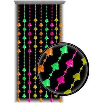Beaded Curtain ~ Blacklight Reactive ~ Multi-Color Mushrooms Door Beads ~ Fits Standard Door Ways