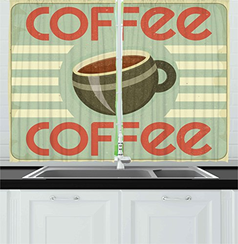 Ambesonne Coffee Decor Collection, Retro Cover for Coffee Menu Illustration Restaurant Kitchen Vintage Design Artwork, Window Treatments for Kitchen Curtains 2 Panels, 55X39 Inches, Red Brown Beige (Window Cover 39 Inch Length compare prices)