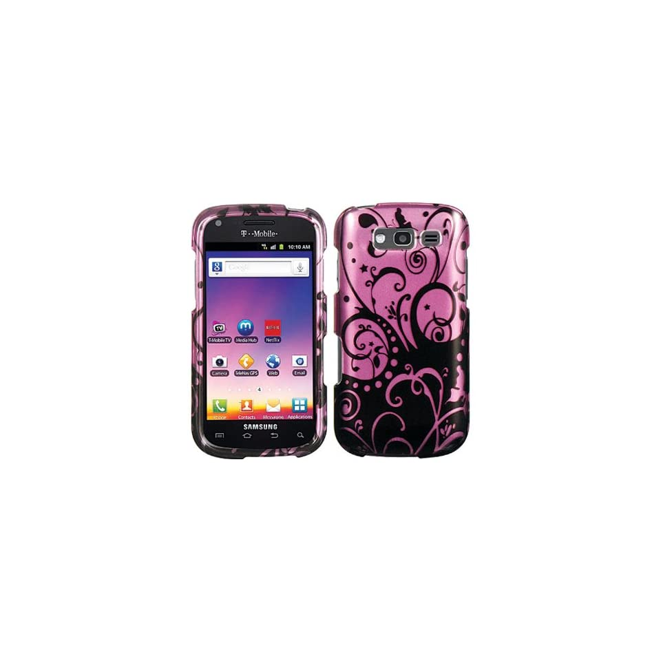 Purple Black Swirl Crystal Hard Skin Case Faceplate Cover for Samsung Galaxy Blaze 4G SGH T769 w/ Free Pouch