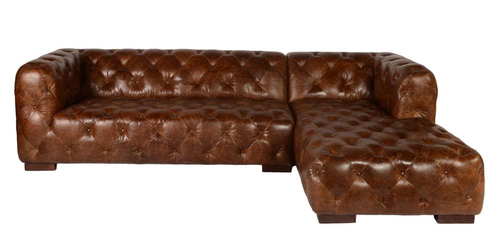 Sectional Sofa With Chaise In Vintage Brown Chesterfield