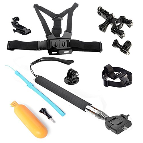 Ohcome 5In1 Gopro Accessories Kit Bundle Combo For Gopro Hero 3+ / 3 / 2 / 1 Digital Cameras - Extendable Telescopic Handheld Pole / Arm Monopod Pod With Tripod Mount Adapter (Black) + Floaty Bobber With Strap Floating Diving Buoyancy Camera Hand Grip / H