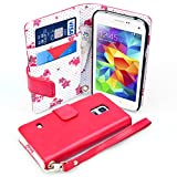 Yousave Accessories PU Leather Floral Wallet Cover Case for Samsung Galaxy S5 Mini - Red