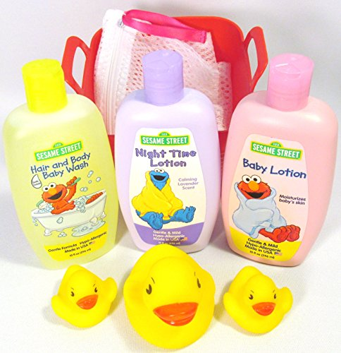 Bundle - 6 Items: 123 Sesame Street Hair and Body Baby Wash, Baby and Night Lotion with Toy Bath Duck Set and Small Mesh Laundry Bag in a Bin (Red) - 1