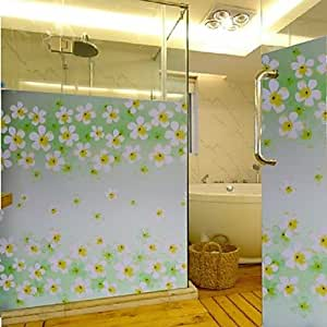 Bathroom Window Film & Stickers, Flower Glass Door Sticker (100*90cm