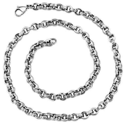 Unique Open Oval Links Mens Stainless Steel Necklace