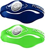 Power Balance Silicone Sports Wristbands-Blue-PB-Lime-S-Pack-of-2