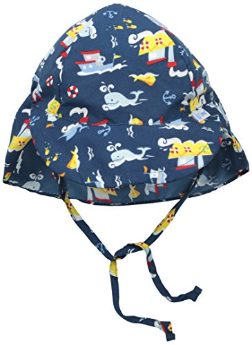 i play. Baby Boys' Flap Sun Protection Hat, Navy Tugboat, 0-6 Months (Baby Boy Hat Sun Protection compare prices)