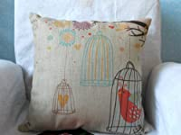 "Decorbox Cotton Linen Square Decorative Throw Pillow Case Cushion Cover Birdcage 18 ""X18 "" from decorbox"