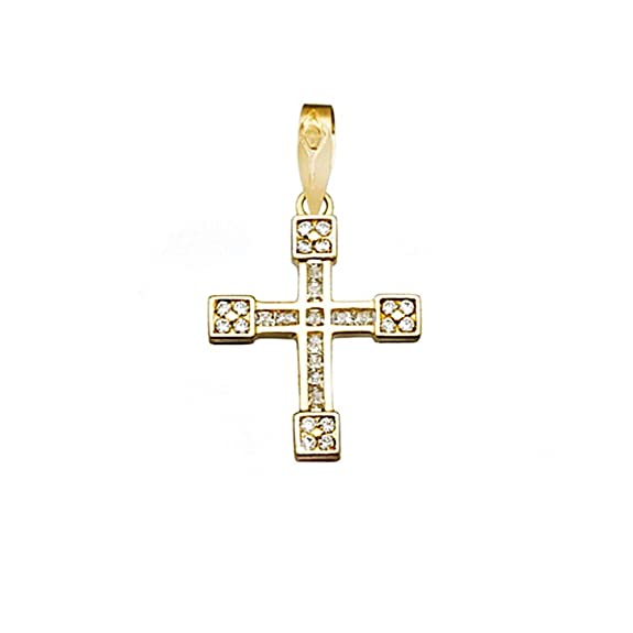 18k gold cross zircons carré 1.5mm. [AA4961]