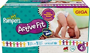 Pampers - 81323101 - Active Fit Couches - Taille 4 Maxi (7-18 kg) Unisexe - Gigapack x136