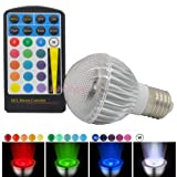 JnDee⢠Dimmable RGB 5W E27 (Edison Screw, ES) Colour Changing LED Light Bulb with IR Remote Control , Wall Switch Control + Memory Function