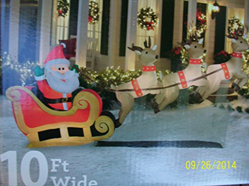 10 Ft Wide Santas Sleigh Taking Off Airblown Inflatable With 3 Reindeer Christmas Lawn Yard Decoration front-4811