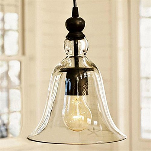Kiven Vintage Clear Glass Bell Pendant Light (Lucency)