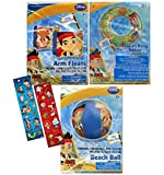 """Safety First"" Disney Jr. Jake and the Neverland Pirates Inflatable Pool Toys Collection! Swim Ring Inner Tube + Arm Floaties + Beach Ball! Plus Bonus 2ct Jake Sticker Sheets!"