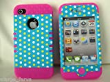 LG 2 in 1 Hybrid Case Protector for Apple Iphone 4 4s 4g Phone Hard Cover Faceplate Skin Silicone and Polka Dots Snap-Pink