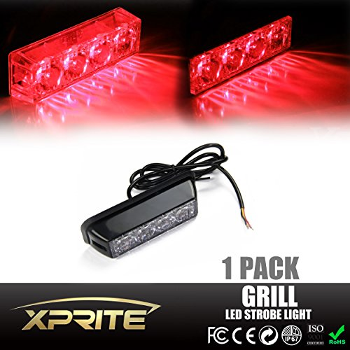 Xprite Red 4 LED 4 Watt Emergency Vehicle Waterproof Surface Mount Deck Dash Grille Strobe Light Warning Police Light Head with Clear Lens (R 32 Grill compare prices)