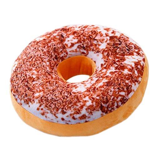 Nunubee Mignon Coussins en Forme de Donuts Coussins de Chaise Décoratifs Oreillers Jouet En Peluche, Tiramisu