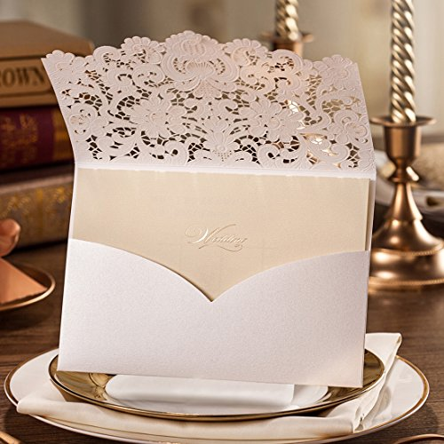 Wishmade 50pcs Ivory Laser Cut Lace Wedding Invitation kit Card Stock with Embossed Floral For Marriage Party Supplies (Set of 50 Piece) 1
