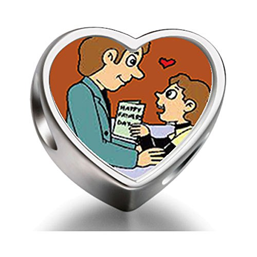 Son Giving Dad Gift Father'S Day Heart Photo Charm Beads