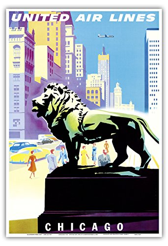 chicago-etats-unis-statue-bronze-lion-institute-dart-a-chicago-united-air-lines-vintage-airline-trav