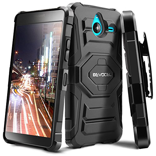 Evocel® Microsoft Lumia 640 XL Case - Dual Layer [New Generation] Rugged Holster Case with Kickstand and Belt Swivel Clip Nokia Lumia 640 XL - Retail Packaging, Black